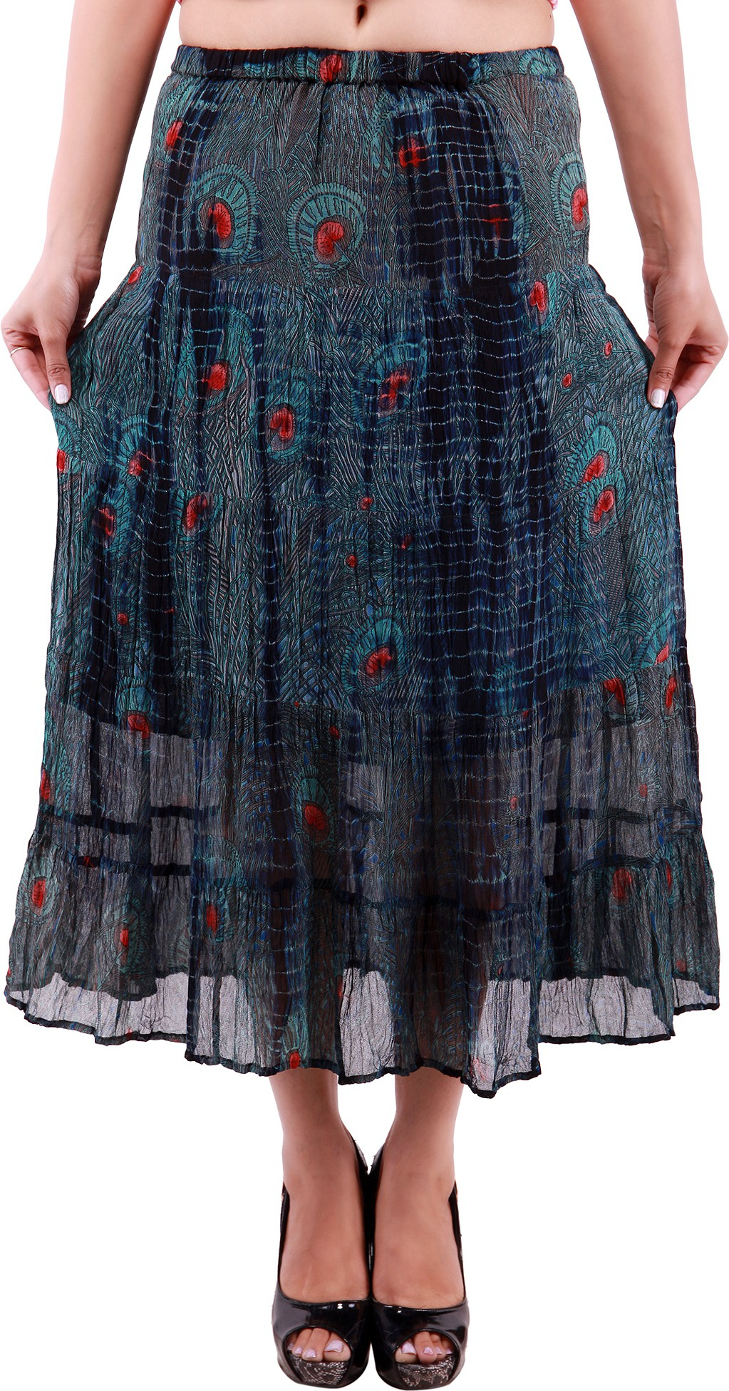 Goodwill Impex Printed Womens A-line Blue Skirt