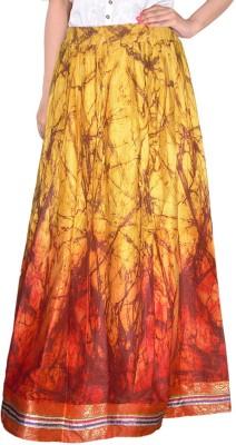 Bright & Shining Printed Women's Regular Gold Skirt