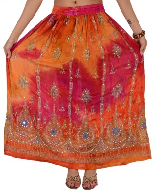 Skirts & Scarves Embellished Women's A-line Orange Skirt