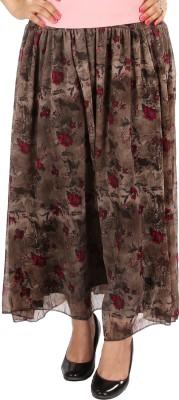 Gwyn Lingerie Printed Women's Gathered Brown Skirt