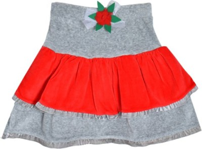 Lil Orchids Solid Girl's Tiered Grey Skirt