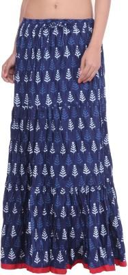 Geroo Printed Women,s Regular Blue Skirt