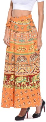 Saffron Craft Animal Print Women's Wrap Around Brown Skirt