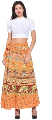 Saffron Craft Animal Print Women's Wrap Around Orange Skirt