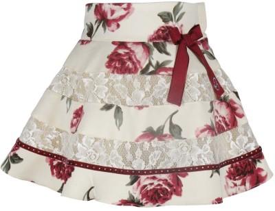 Cutecumber Floral Print Baby Girl's A-line Maroon Skirt