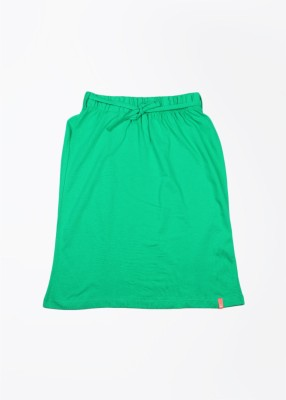 United Colors of Benetton Solid Girl's Straight Green Skirt
