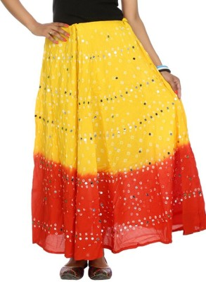 Ooltha Chashma Striped Women's Broomstick Yellow, Red Skirt