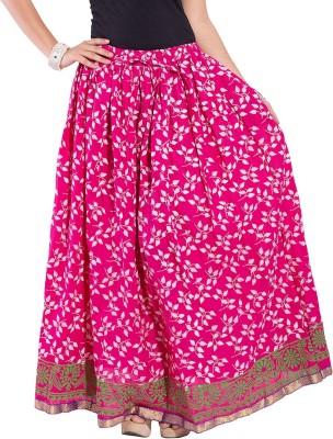 Magnus Self Design Women's Regular Pink Skirt at flipkart