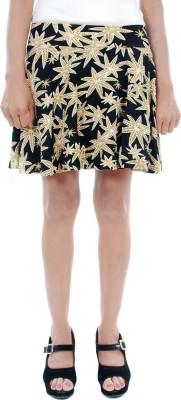 Gwyn Lingerie Floral Print Women's Pleated Black Skirt