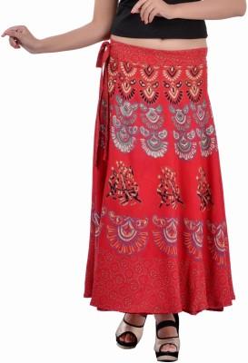 Indi Bargain Animal Print Women's Wrap Around Red Skirt