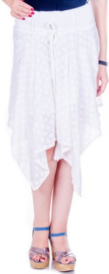 Goodwill Impex Solid Women's Asymetric White Skirt