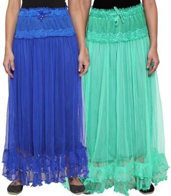 NumBrave Self Design Women's Layered Blue, Green Skirt