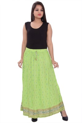 A&K Printed Women's Pleated Green Skirt