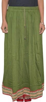 Shreeka Solid Women's Regular Green, Red Skirt