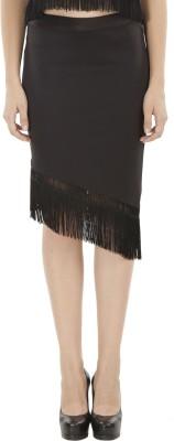 Fuziv Solid Women's Asymetric Black Skirt