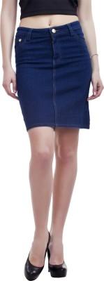 Peptrends Solid Women's Pencil Blue Skirt