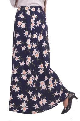 #Lets Selfie Floral Print Women's Broomstick Blue Skirt