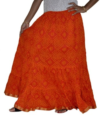 Ooltha Chashma Printed Women's Broomstick Orange Skirt