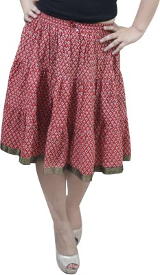 CrazeVilla Printed Women's A-line Red Skirt