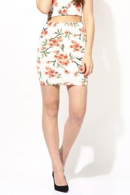 Veni Vidi Vici Floral Print Women's Pencil Beige, Orange, Green Skirt