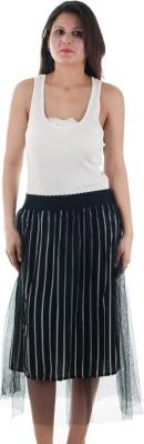 Gwyn Lingerie Striped Women's Gathered Black Skirt