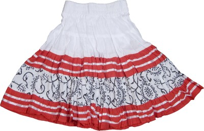 Retaaz Self Design Girl's Broomstick White, Red, Black Skirt