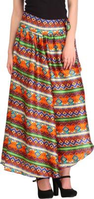 Cottinfab Printed Women's Asymetric Green Skirt at flipkart