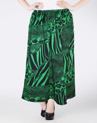 Vivaa Printed Women's Wrap Around Black, Green Skirt