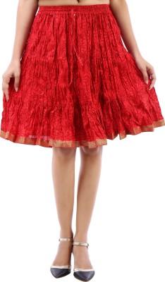 Desert Eshop Floral Print Women's A-line Maroon Skirt