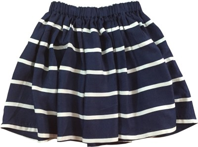 IDK Printed Girl's Gathered Blue Skirt