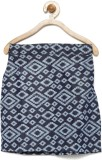 Yk Printed Girls Pencil Blue Skirt