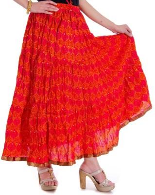 JaipurRaga Printed Women's Wrap Around Red Skirt