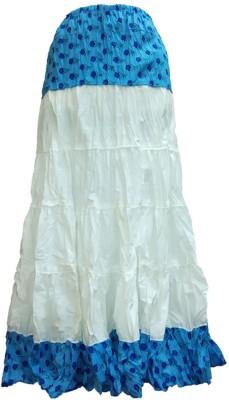 B VOS Floral Print Women's A-line Blue Skirt