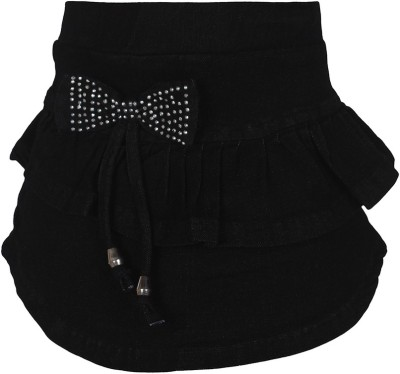 Jazzup Embellished Girl's Pleated Black Skirt