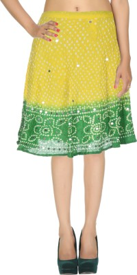 Rajrang Printed Women's Wrap Around Yellow, Green Skirt at flipkart