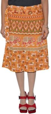 Shreeka Printed Women's Wrap Around Yellow, White Skirt
