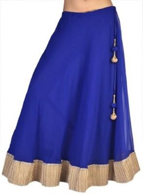 pinksisly Solid Women,s Regular Blue Skirt