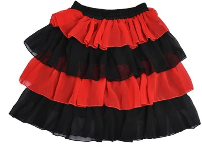 Yufta Solid Girl,s Gathered Red Skirt