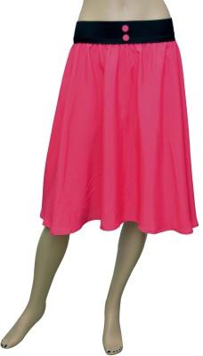Grace Diva Solid Women's Pleated Pink Skirt at flipkart