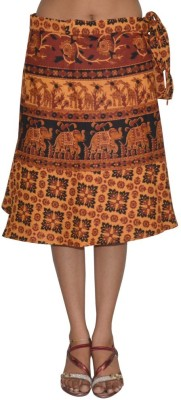 Pezzava Printed Women's Wrap Around Orange, Black Skirt at flipkart
