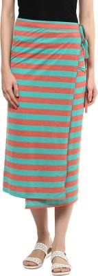 T-shirt Company Striped Women's Straight Red, Green Skirt