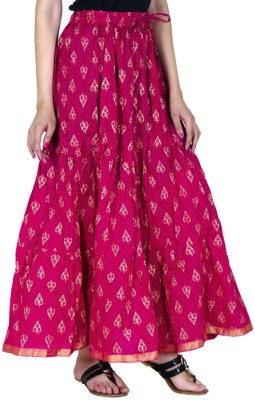Ooltah Chashma Embellished Women's Tiered Pink Skirt
