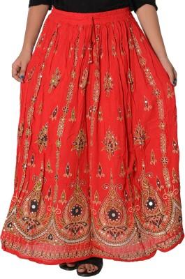 Fashionmandi Printed Women's A-line Red Skirt