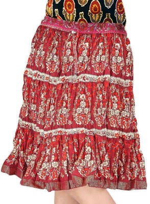 Jaipur Raga Floral Print Women,s Regular Red Skirt