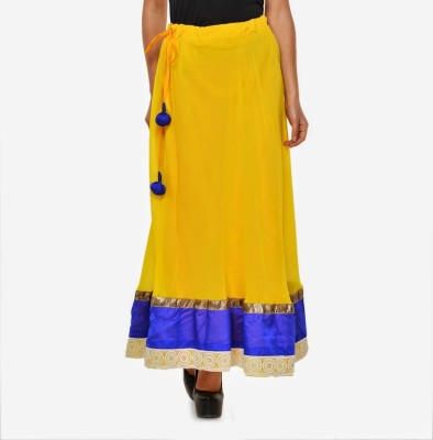 Navyou Solid Women's A-line Yellow Skirt