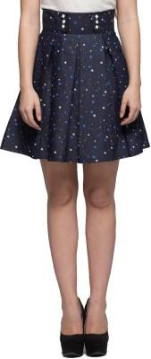 Tryfa Printed Women's Regular Black Skirt