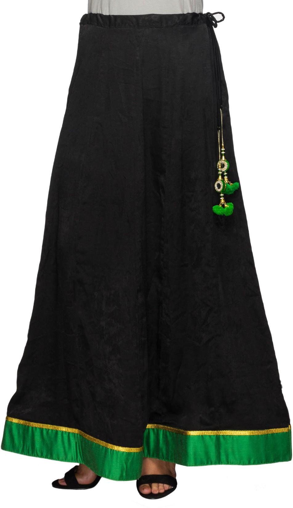 Arshvi Solid Womens Broomstick Black, Green Skirt
