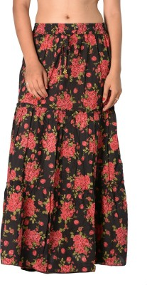 SBS Floral Print Women's Tiered Black Skirt