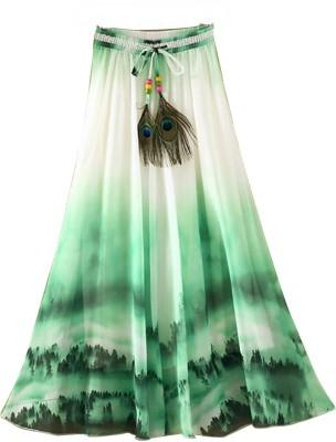 Jassu Fashion Hub Printed Women,s Regular Green, White Skirt