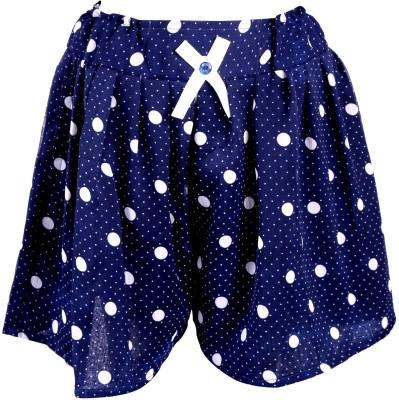 Toddla Polka Print Girl's Pleated Blue Skirt
